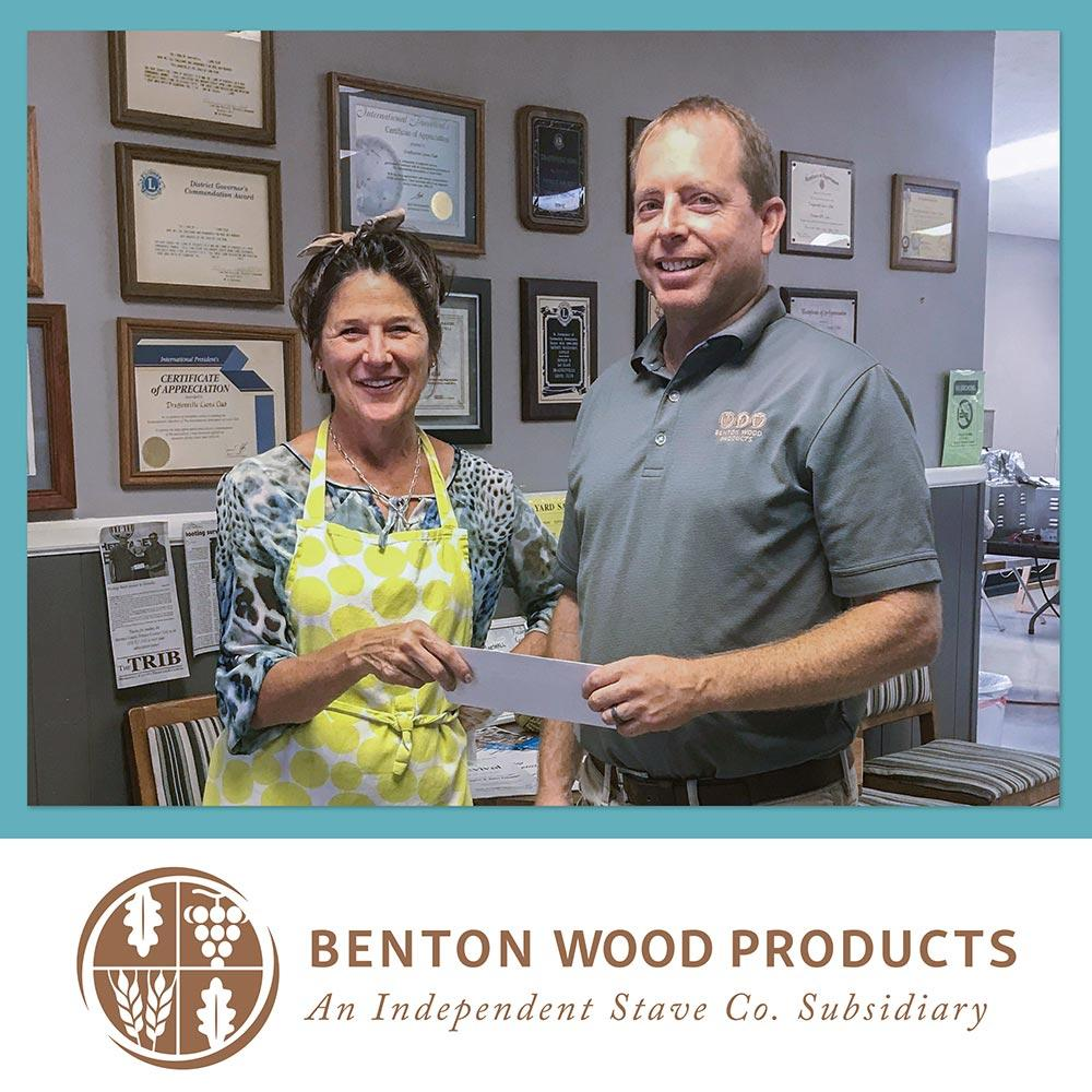 Benton Wood Products Donates $5,000 to Marcella's Kitchen